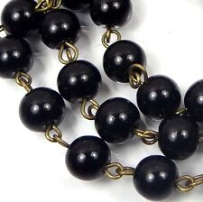 "40"" (3.3 feet) 8mm Black Jet Glass Pearl Bead Antique Bronze Link Chain"