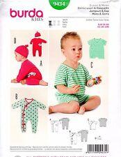 Burda Kids Sewing Pattern 9434 Baby Jumpsuit Romper Cap Size US 1M-18M