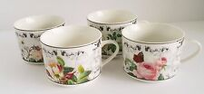"American Atelier Tea Coffee Mugs Rose Toile Set of 4 2.5"" Tall CUPS ONLY"