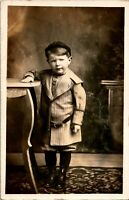 Vintage Real Photo Postcard RPPC Studio View - This Child is Up To No Good