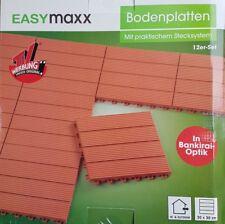 Easymaxx PVC Bodenfliesen Terracotta-Optik, 12tlg. Terassenplatten, Bodenplatten