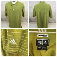 Adidas Men's Size Large Climalite Golf Short Sleeve Polo Shirt Green Striped Bn5