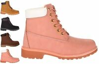 Women's Lace Up Flat Military Worker Boots Ladies Low Heel Ankle Shoes UK3-8