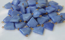VINTAGE OPAQUE BLUE GLASS PENTAGON BEAD CONNECTOR OLD ANTIQUE POINTED SHIELD