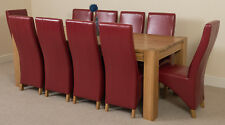 Kuba Chunky 220cm Kitchen Solid Oak Dining Table and 10 Burgundy Leather Chairs