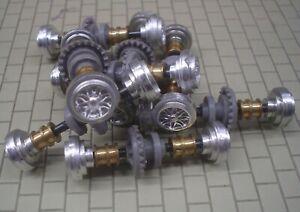 SCX 1/32 REAR AXLE ASSY -FIAT ARBARTH 43mm SILVER WHEELS(QTY 6) NOS (08)