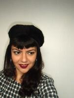 Beret chapeau noir retro vintage francais laine mélangée 28cm