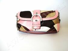 New Authentic Coach Satin and Leather Pink Signature Clutch Satchel Purse