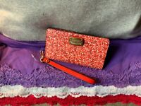 Michael Kors Red & White Multi Floral Saffiano Leather Snap Phone Case Wristlet