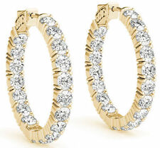 5.49 carat Round cut Diamond 14k Yellow Gold Hoop Earring 22 x 0.25 ct 0.60 inch