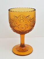 VINTAGE VIKING AMBER GLASS YESTERYEAR  LARGE GOBLET CHALICE