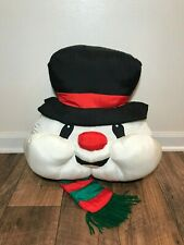 "Snowman Silky Stuffed Christmas 16"" Pillow, Frosty the Snowman, Xmas Decor"
