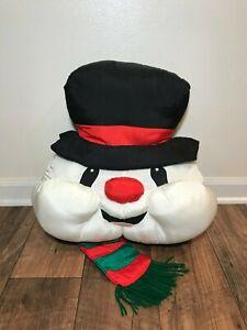 "Snowman Silky Stuffed Christmas 16"" Pillow, Frosty the Snowman, Xmas Decor"