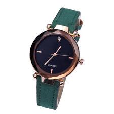 Women`s Fashion Rose Gold Black Dial Quartz Green Leather Band Wrist Watch.