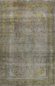 Antique Ardakan Distressed Muted Area Rug Hand-knotted Wool Evenly Low Pile 9x12