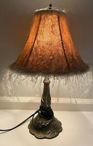 """Brown Portable Table/Bedside Lamp With Tan Butterfly Shade 19"""" tall"""