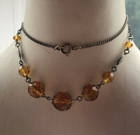 1930s Glass Necklace Amber Coloured Link Vintage Faceted Jewellery Jewelry Retro