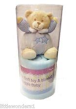 Boys Blue Adorable Soft Teddy Bear & Blanket - Boxed Gift Set