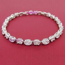 Women Girl Ladies Real Solid 9K White Gold GF Tennis Bracelet Simulated Diamond