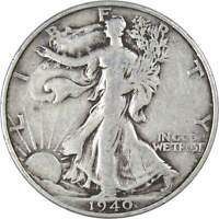 1940 S Liberty Walking Half Dollar F Fine 90% Silver 50c US Coin Collectible