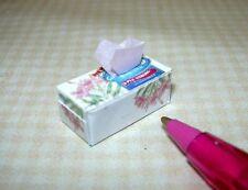 Miniature Rectangular BRAND Pink Floral Facial Tissue Box: DOLLHOUSE 1/12 Scale