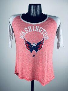 Women's Washington Capitals Heather Red 3/4 Sleeve Dual Blend Shirt NWT Small