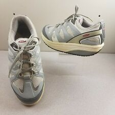 MBT WOMENS US 9.5 ANTI SHOES SILVER SNEAKERS FITNESS WALKING LACED WORK COMFORT