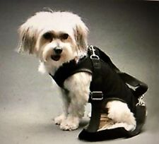 BLACK STRECTHY small dog carrier harness sling puppy purse L