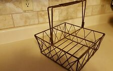 VINTAGE LARGE WIRE MILK Man's Carrier BASKET 4 SECTIONS Heavy Rustic