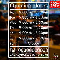 Personalised Custom Opening Times/Hours Shop Door Window Wall Vinyl Sticker Sign