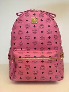 MCM Medium Stark Side Stud Coated Canvas Backpack Pink NWT