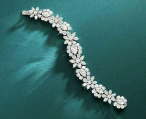 Solid 925 Sterling Silver White Pear Flower Beautiful Jewelry Bracelet New Gift