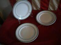 Vtg Buffalo China Salad Plates Double Green Stripe Restaurant Ware Lot of Three
