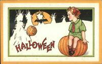 Halloween Stecher Series 90F Child on Pumpkin c1910 Postcard