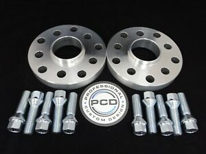 15mm VW AUDI 5x112 OR 5X100 Hubcentric Wheel Spacers, 57.1 bore & 10 TAPER Bolts