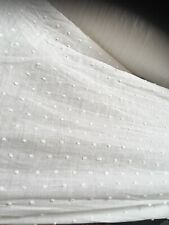 "White Woven 100% Cotton Embroidered Sheer Swiss Dot Fabric 56""-57"