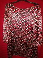 Covington Dress XL Black Red Tan 3/4 Sleeve