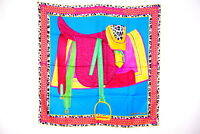 "HERMES Carre 90 Large Scarf Silk 100% ""Selle d'Officier en Grande Tenue"" 3156k"