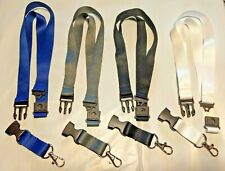 Plain Solid Color Lanyard w/ Safety Breakaway & Keychain- Black/White/Gray/Blue