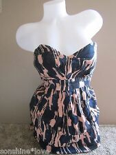 Forever 21 Blue Light Pink Printed Tie Back Strapless Dress Size S