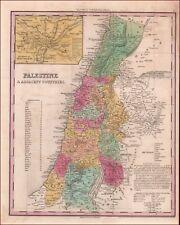 PALESTINE, ISRAEL, HOLY LAND, H.S. TANNER MAP, PHILA., antique original 1843
