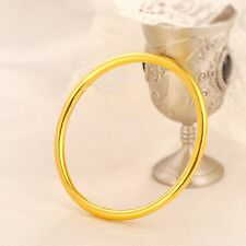 New Arrival Pure 999 24K Yellow Gold Bangle Women 3D Smooth Bracelet 56mm
