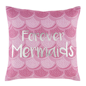 FOREVER MERMAIDS PINK SILVER KIDS CUSHION COVER 43cm x 43cm CATHERINE LANSFIELD