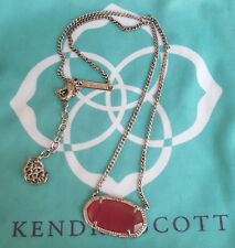 Kendra Scott Dylan Light Pink Cat's Eye Rhodium Silver Necklace Fashion Rare HTF