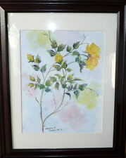 Sandra K Peek Yellow Roses, 9x12 paintng a day sml framed watercolor