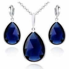 18K White Gold GP Blue Sapphire Swarovski Crystals Set Necklace Earrings NEW
