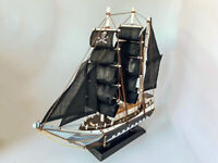 """Wooden Pirate Ship Nautical Model 12"""" Black Sails (Fully Assembled) Collectible"""