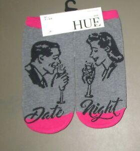 HUE~ONE SIZE~Women's Dark Rose & Gray DATE NIGHT Footsie No Show Socks