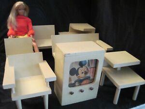 VTG Handmade Wood Doll Furniture Living Room Set w/TV fits Barbie/Bild Lilli +