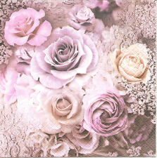 4 Single Paper Napkins for Decoupage Evelien Beautiful Pink Roses